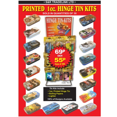 1oz Printed Hinge Gift Tin Kits 100s of Designs
