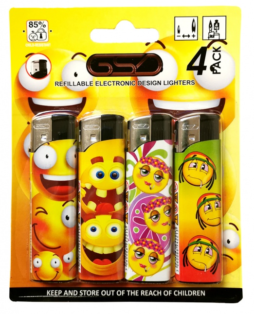 GSD 4-Pack Electronic Refillable Lighters - EMOJI