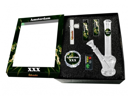 Boxed Glass Waterpipe Gift Set - Amsterdam Design Bong, Kawuun Pipe, Grinder, Lighter, Tips & Screens