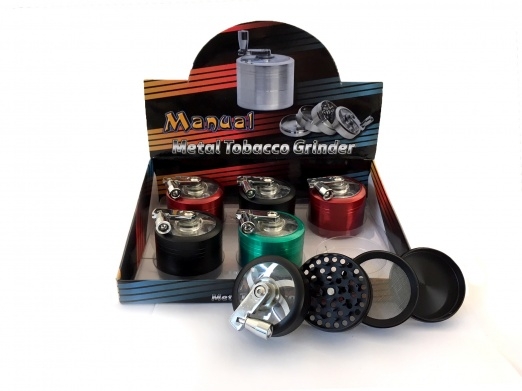 4-Part Metal Handled Grinder Various Colours Box Of 6