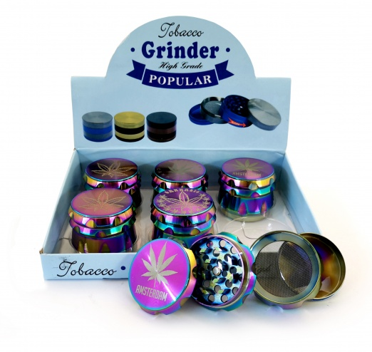 4-Part 50mm Ice Coloured Amsterdam Metal grinders - 6s