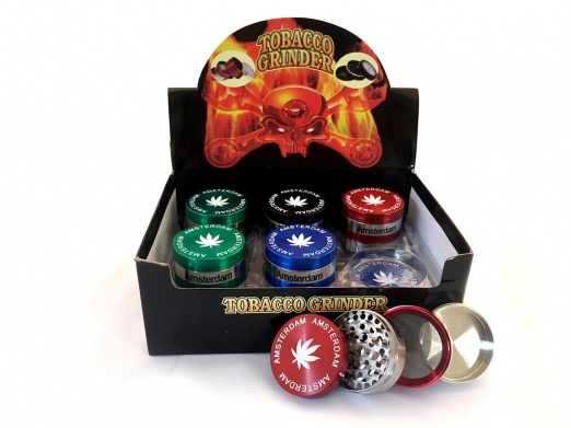 4-Part Amsterdam Silver Trim Grinder Various Colours Box Of 12