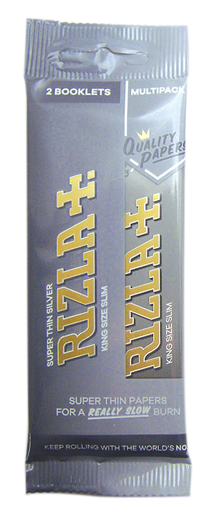 Rizla Silver King Size Slim Rolling Papers Hanger x 2 Pack