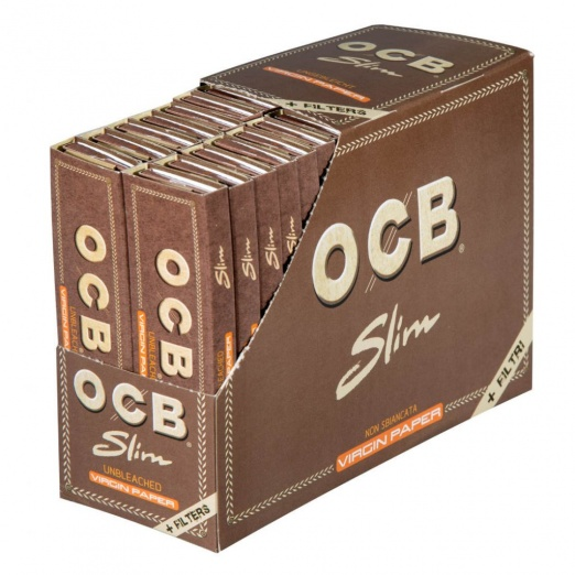 OCB Virgin Unbleached King Size Slim Rolling Papers + Filter Tips