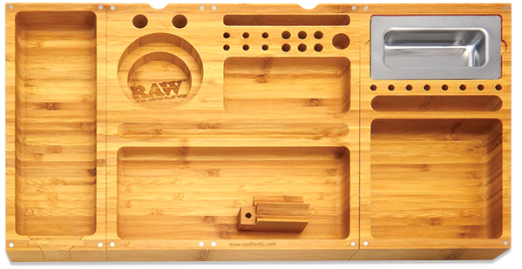 Raw Triple Flip 3 Part Bamboo Wooden Rolling Filling Tray