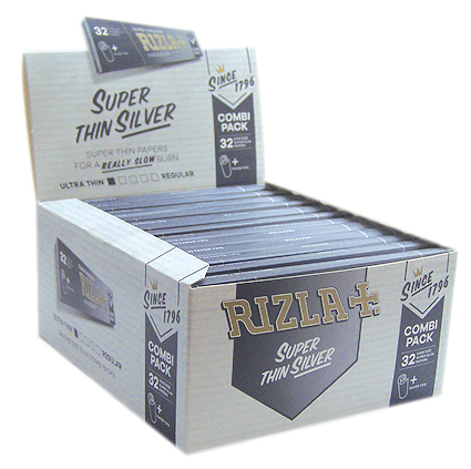 Rizla Silver Combi Pack - King Size Slim Rolling Papers + Paper Tips