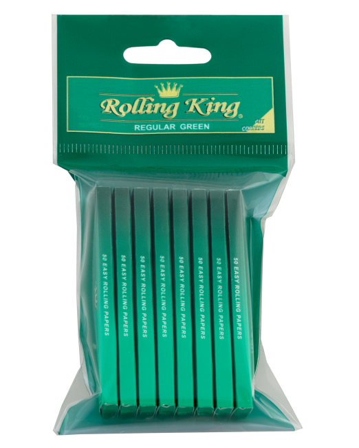 Rolling King Green Regular Rolling Papers - Pack of 8