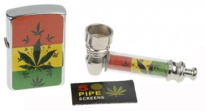 Rasta Pipe, Gauze & Lighter Set