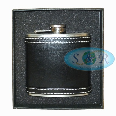 6oz Black Deluxe Leather Bound Stainless Steel Hip Flask