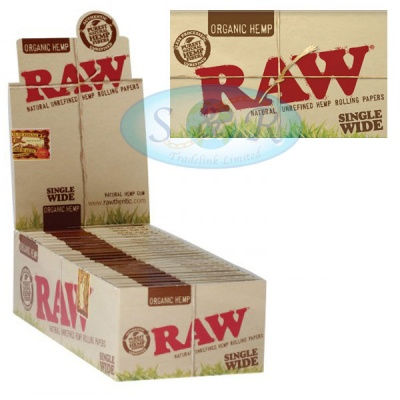RAW Organic Hemp Single Wide Double Packs Standard Size Rolling Papers