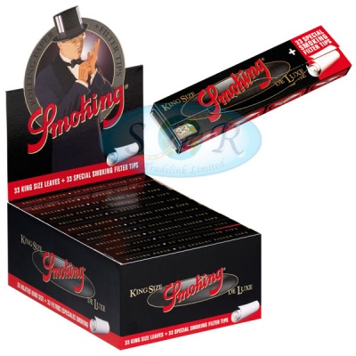 Smoking Deluxe King Size Slim Rolling Papers & Tips