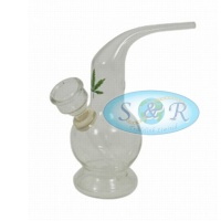 14cm Single Bubble Glass Waterpipe Bong with Bent Pipe