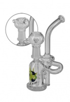 Black Leaf 16cm Glass Oil Recycler and Herb Pipe