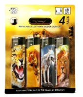 GSD 4-Pack Electronic Refillable Lighters - ANIMAL