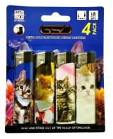 GSD 4-Pack Electronic Refillable Lighters - CATS