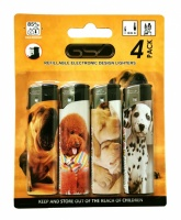 GSD 4-Pack Electronic Refillable Lighters - DOGS