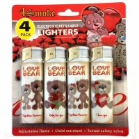 4Smoke Electronic Refillable Lighters - Love Bear