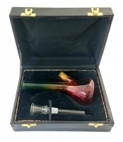 18cm Rasta Glass Waterpipe in a Black Leather Case