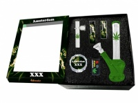 Boxed Glass Waterpipe Gift Set - Green Leaf Design Bong, Kawuun Pipe, Grinder, Lighter, Tips & Screens