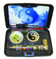 Snuff Pipe Set in Hard Case - Assorted Designs