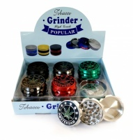 3-Part 50mm Grooved Amsterdam Metal grinders - 12s - Various Colours