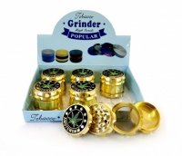 4-Part 50mm Gold Grooved Amsterdam Metal grinders - 6s