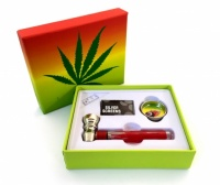Glass Pipe, Grinder, Screens Set in Leaf Design Box