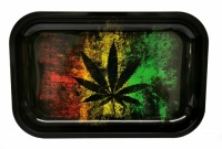 Small Rasta Leaf Metal rolling tray - 290 x 190mm