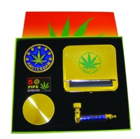 Boxed Gift Set Gold - Pipe, Grinder & Automatic Rolling Machine