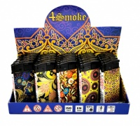 4Smoke Electronic Refillable Slim Lighters - FLOWERS