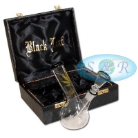 14cm Black Leaf Single Bubble Boxed Glass Waterpipe Bong