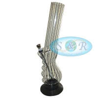 30cm Striped Pistol Grip Acrylic Waterpipe Bong