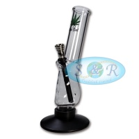 23cm Black Leaf Pistol Grip Glass Waterpipe Bong with Rubber Base