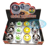 3 Part Glass Top Metal Grinder Various Designs