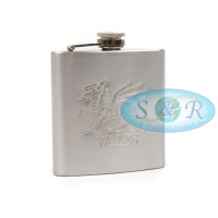 6oz Stainless Steel Hip Flask Wales Design