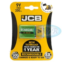 JCB 9v PP3 200mAh NiMH Rechargeable Battery Pack of 1