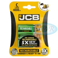 JCB C 4000mAh NiMH Rechargeable Batteries Pack of 2