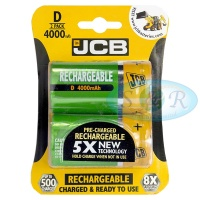 JCB D 4000mAh NiMH Rechargeable Batteries Pack of 2