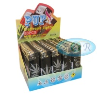 Puf Black Leaf Electronic Refillable Lighters