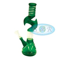 10 Inch Percolator Zig-Zag Frosted with Taping Glass Waterpipe Bong