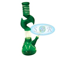 12 Inch Percolator Zig-Zag Frosted Taping Glass Waterpipe Bong