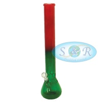 18 Inch Double Mixed Coloured Glass Waterpipe Bong