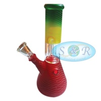 8 Inch Percolator Rasta Frosted Net Taping Glass Waterpipe Bong