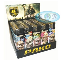 Pako Tattoo Skulls Electronic Refillable Lighters 50 per Pack