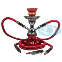 24cm Double Hose Pumpkin Shisha Hookah Red